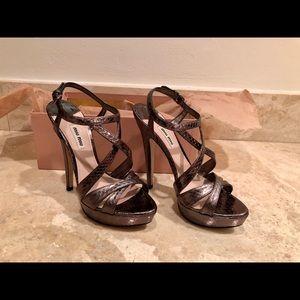 Miu Miu Metallic Silver Sandals